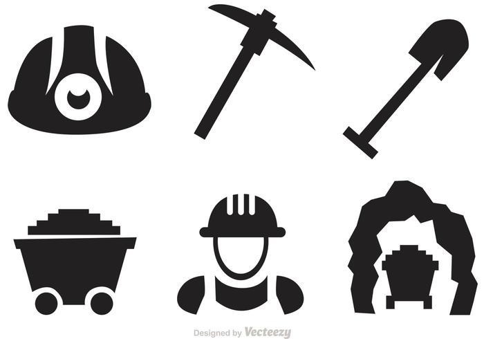 Set von Mining Icons Vektoren