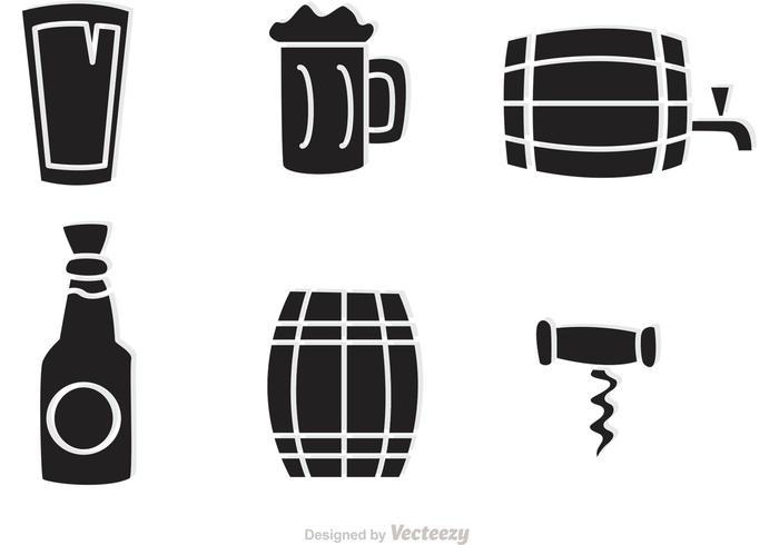 Svart Whisky Ikoner Vector