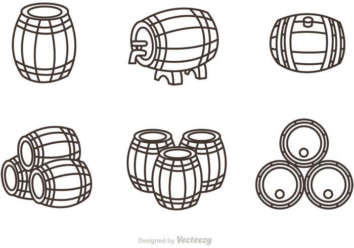 Whisky Barrel Outline Ikoner Vector