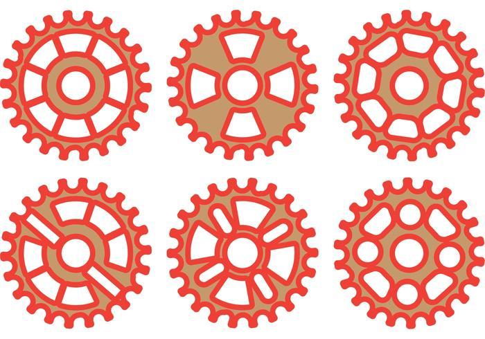 Red Bike Kettenrad Vektor Pack