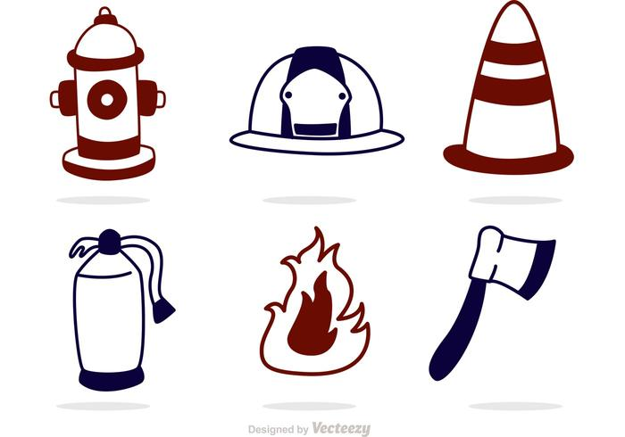 Umriss Fireman Icons Vector Pack