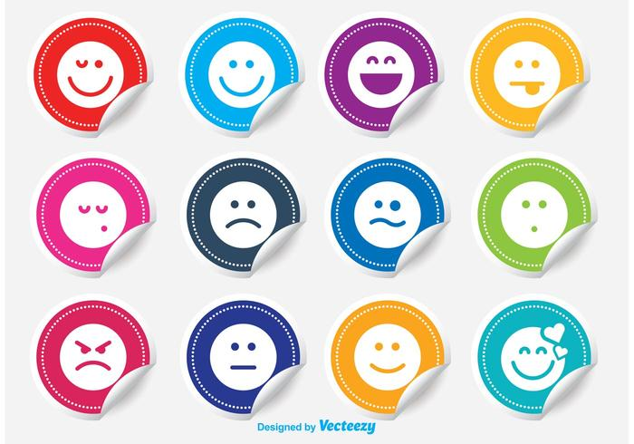 Emoticon Aufkleber Vektor Set