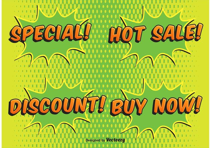 Comic Style Verkauf Etiketten vektor