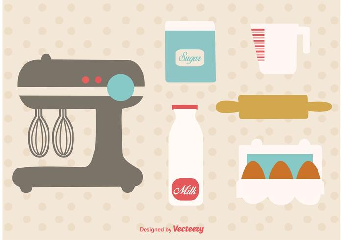 Bäckerei Retro Küchenutensilien vektor