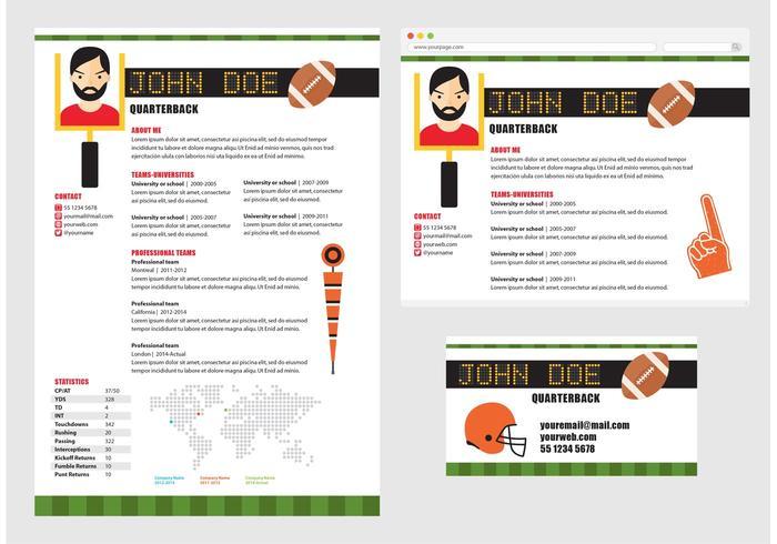 Curriculum Vitae für Fußballspieler vektor