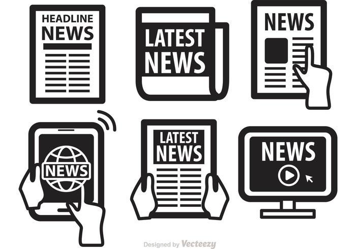 Zeitungsmedien Ikonen Vektoren