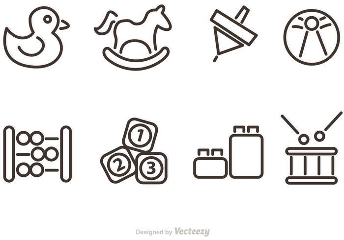 Umrissene Baby Spielzeug Vektor Icons