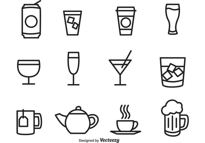 Umrissene Getränke-Vektor-Icons vektor