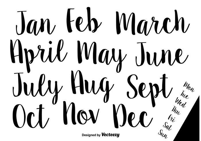 Handdragen kalligrafiska vektornamn på månader och veckor vektor