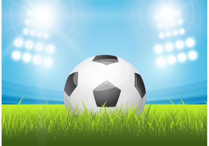 Gratis glänsande fotbollsboll i stadionvektor vektor