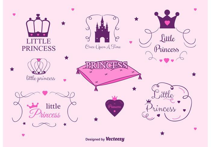 Set von Prinzessin Castle Vector Labels