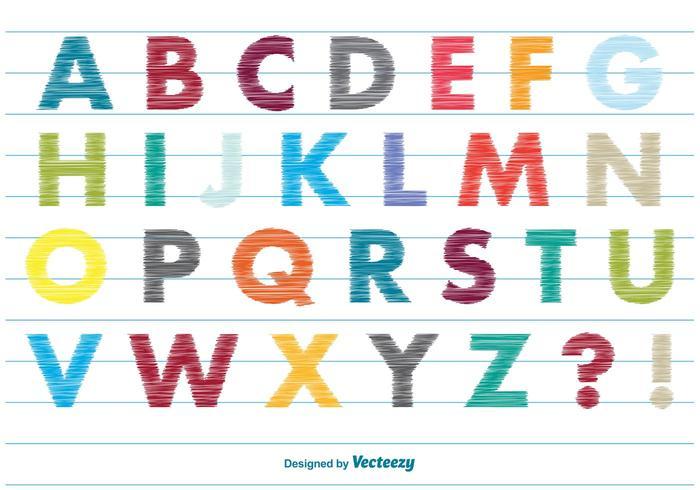 Scribble stil alfabetet vektor
