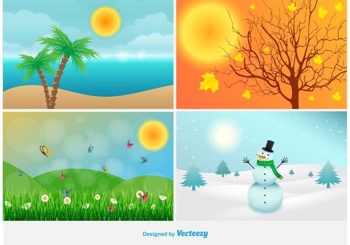 Fyra årstider landskaps illustrationer vektor