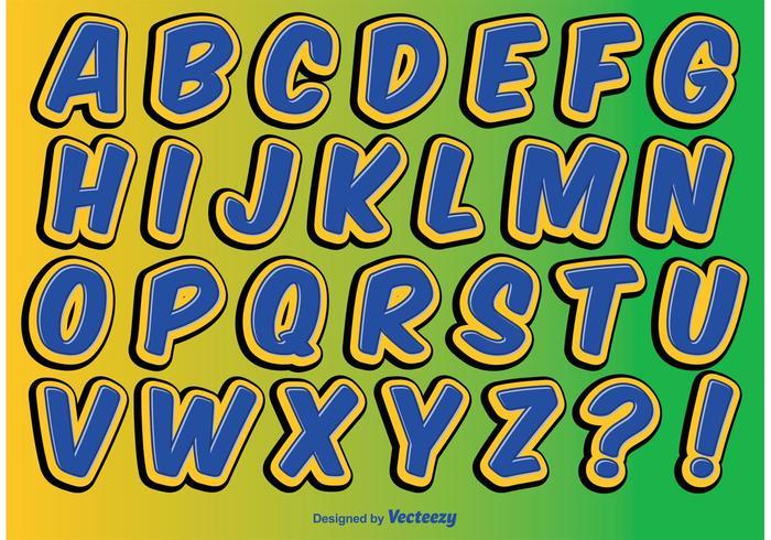 Comic-Stil Alphabet Set vektor