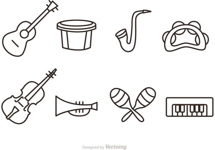 Outline Music Instrument Vector Ikoner