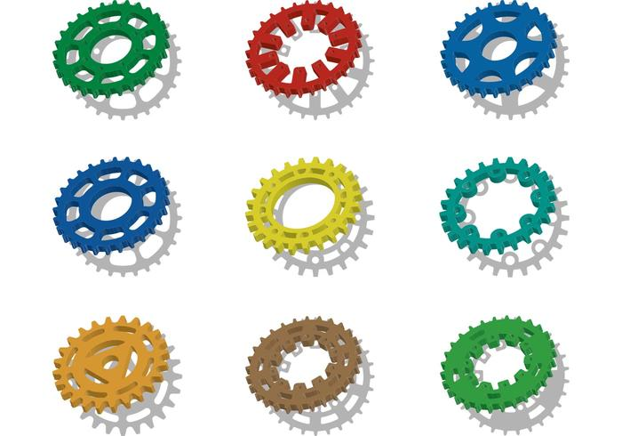 Bunte Fahrrad-Kettenrad-Vektoren vektor