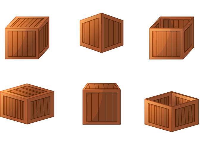 3D hölzerne Kiste Vektoren