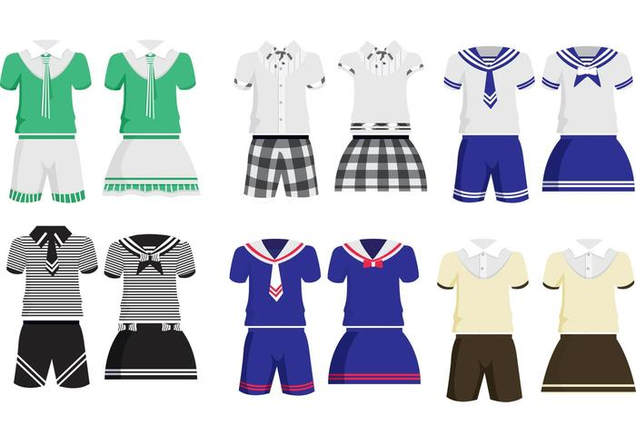 Schule Kinder Uniform Vektoren