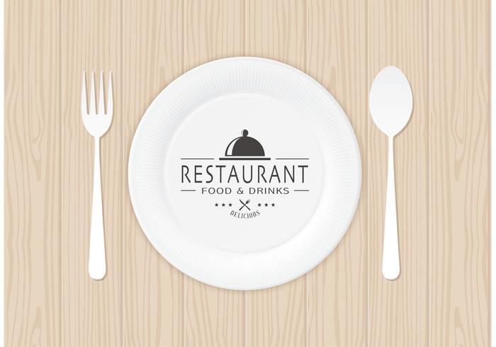 Gratis restauranglogo på pappersplatta vektor