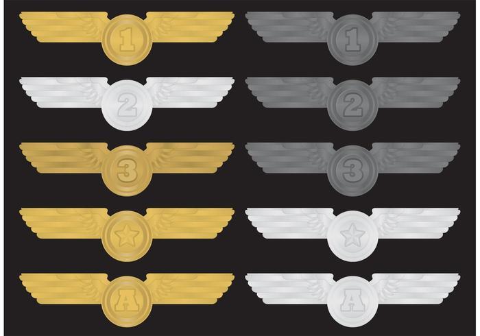 Flügel-Medaillen-Vektoren vektor