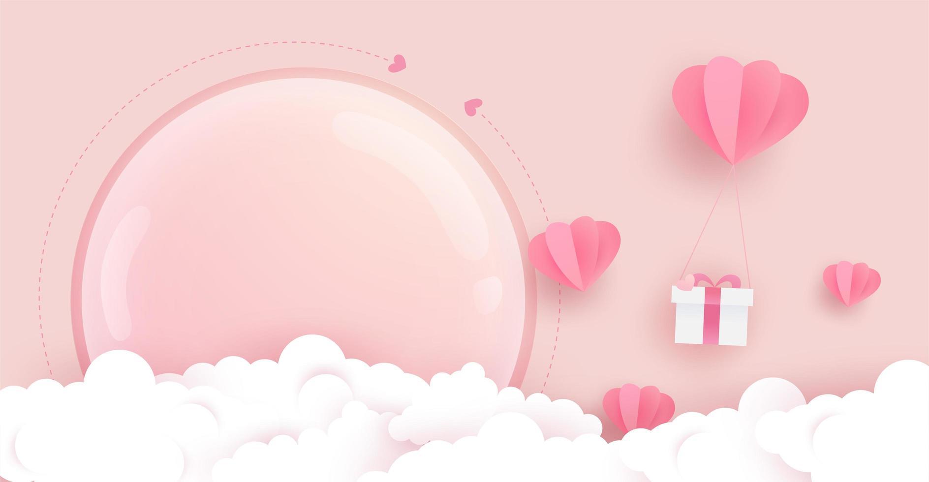 hjärta ballonger, gåva, moln och glas täck affisch vektor