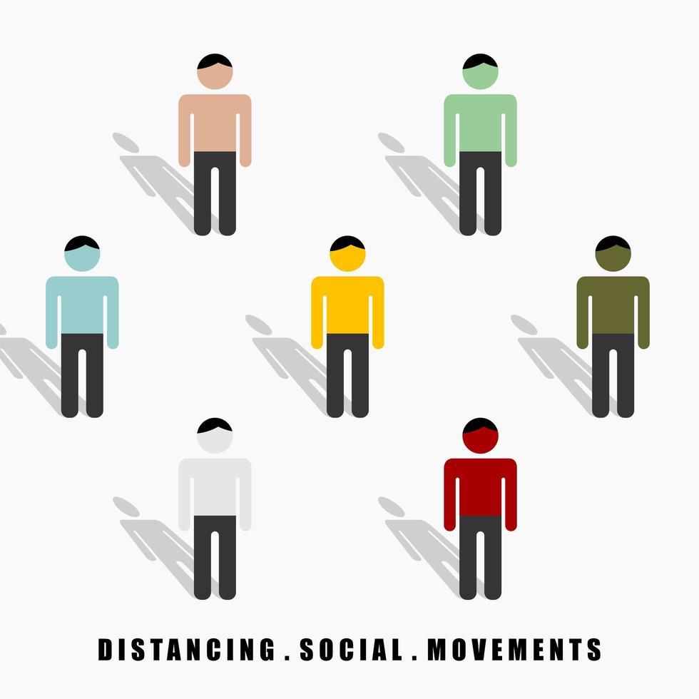 Distanzierung sozialer Bewegungen zwischen bunten Männern vektor
