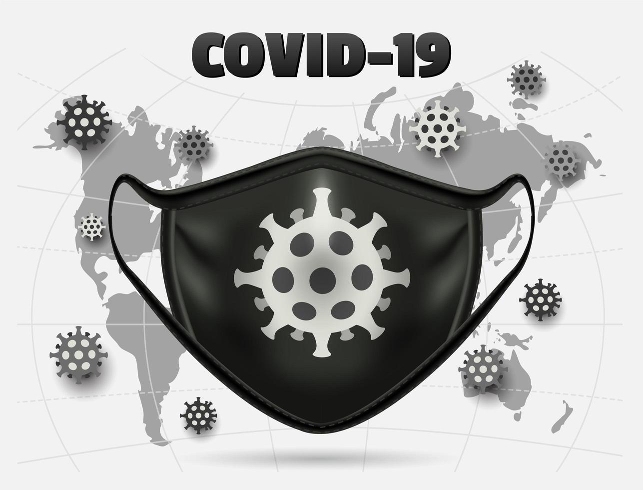 medizinische Maske des schwarzen Coronavirus über Weltkarte vektor
