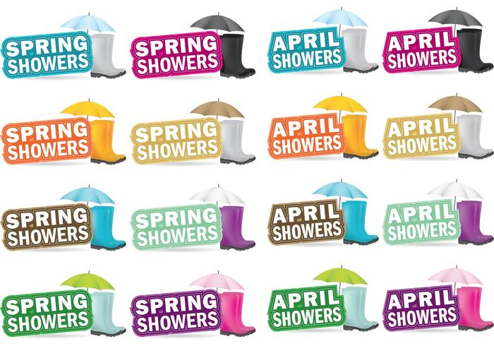 April Spring Showers Vectors