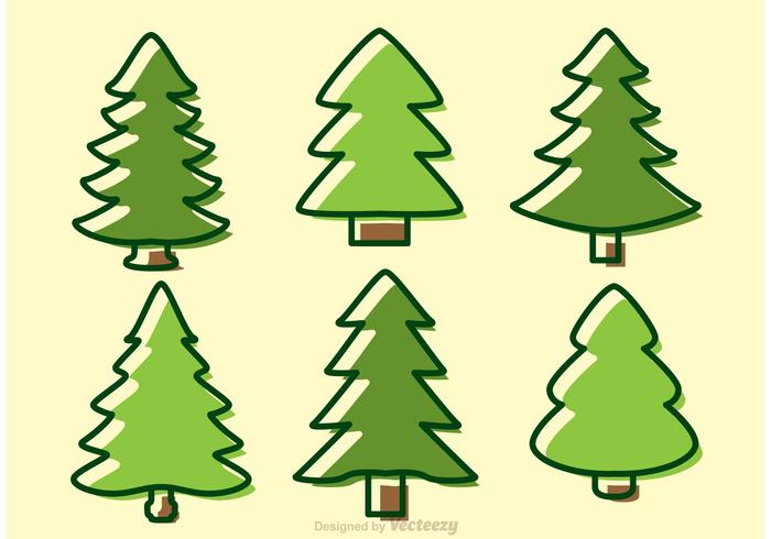 Zedernbäume Cartoon Vektoren