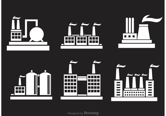 Industrial Bulding Factory Ikoner vektor