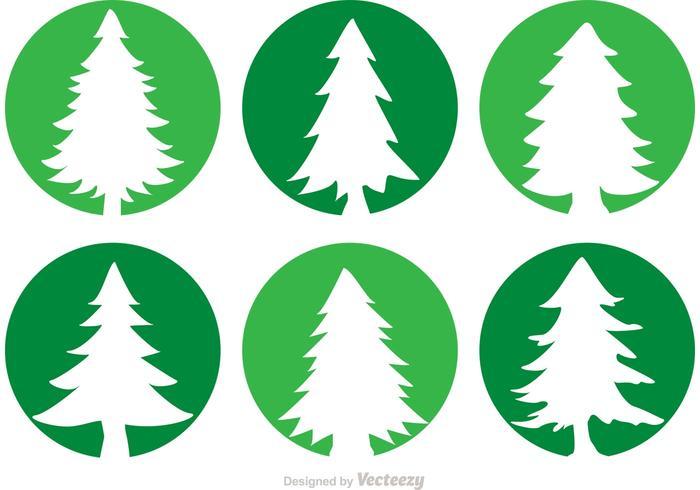 Zedernbäume Kreis Vektor Icons