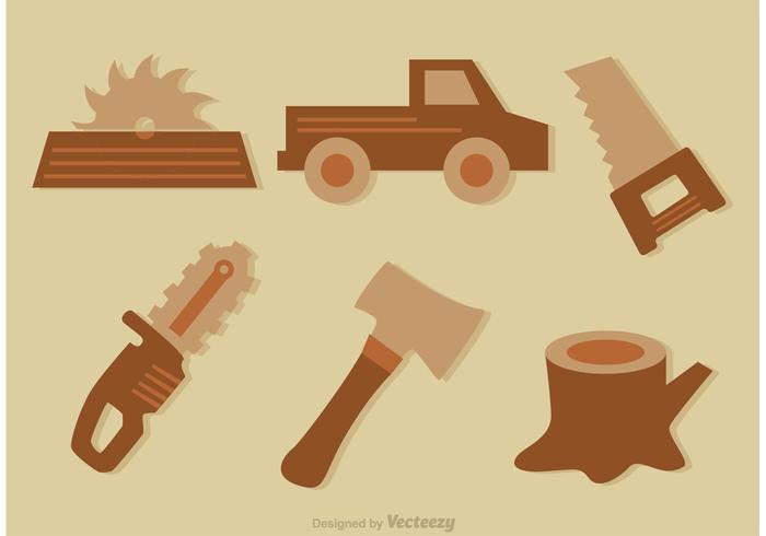 Holzfäller Werkzeug Vektor Icons
