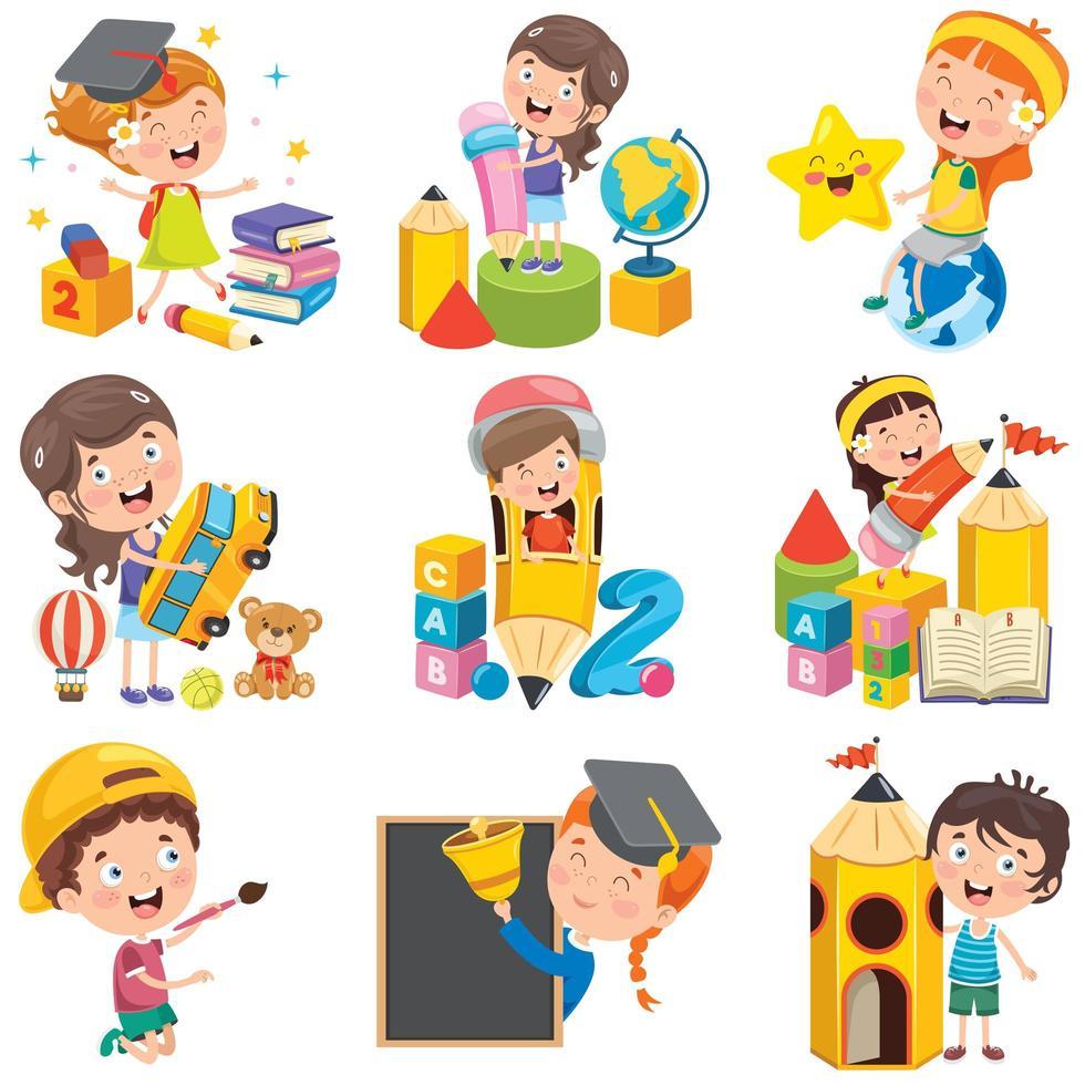 tecknade barnkaraktärer som gör olika aktiviteter vektor