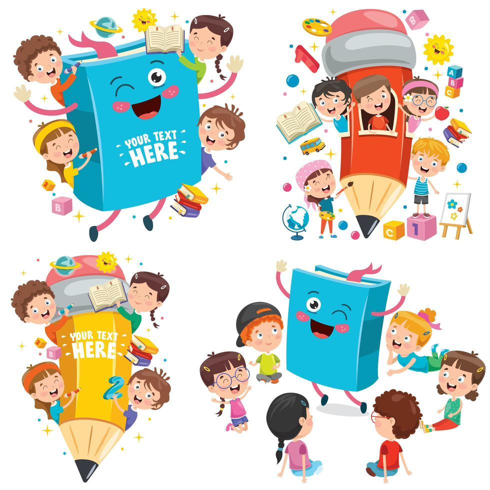 utbildning koncept med roliga barn vektor