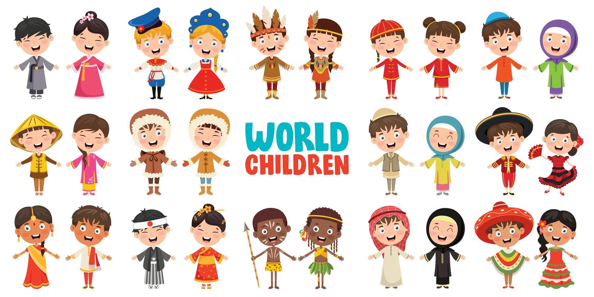 multikulturella karaktärer i världen vektor