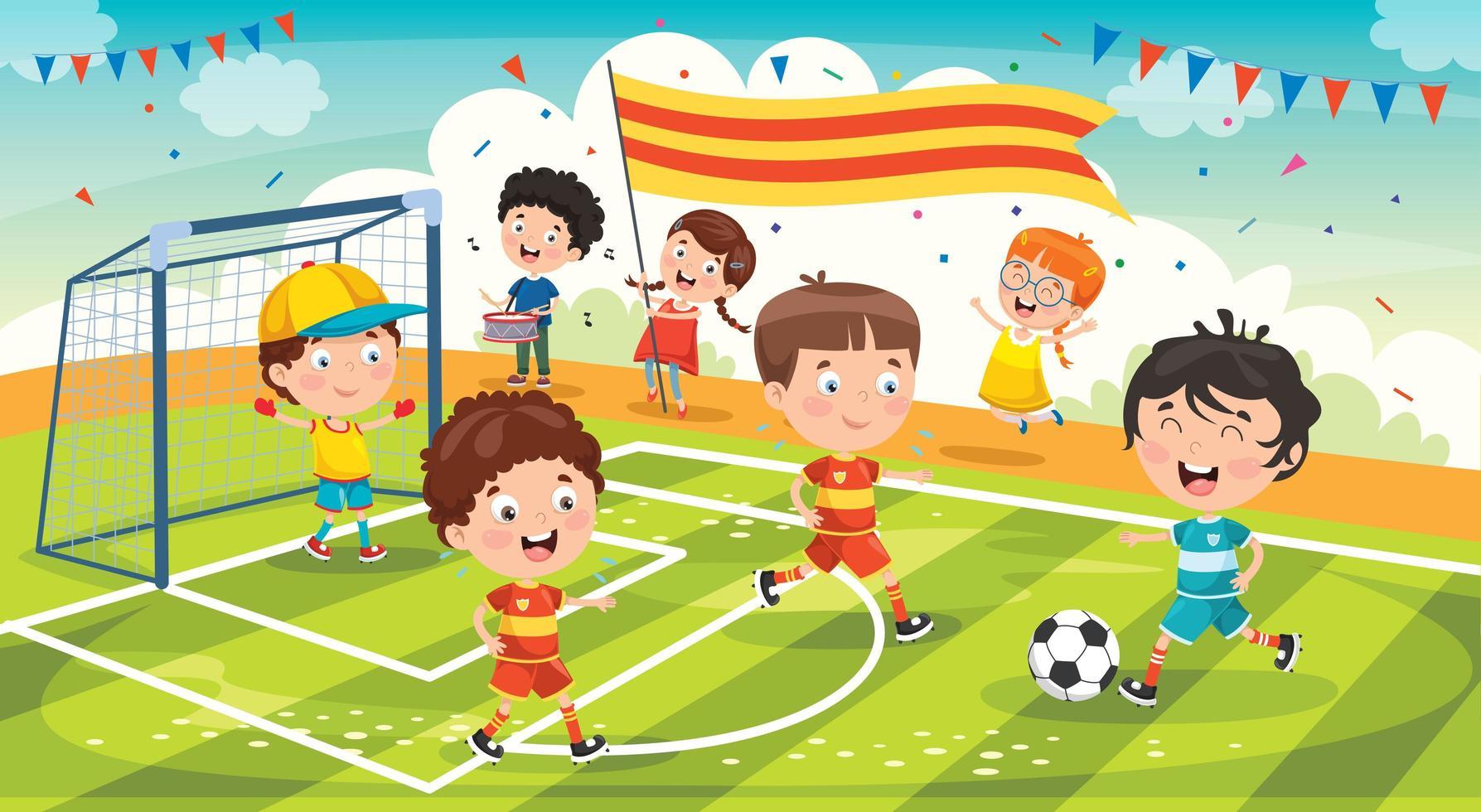 kleine Kinder feiern Meisterschaftsgewinn vektor