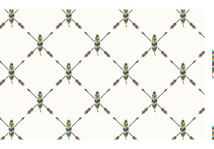 Gratis Etnisk Fjäder Seamless Vector Pattern