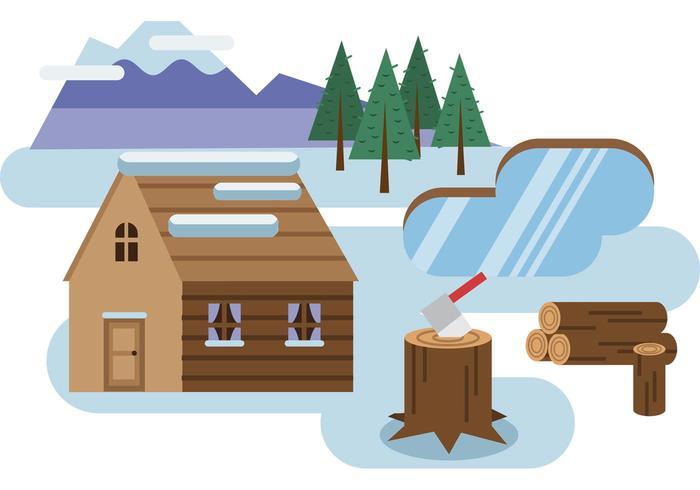 Log Cabin Snöig Landskap Vector