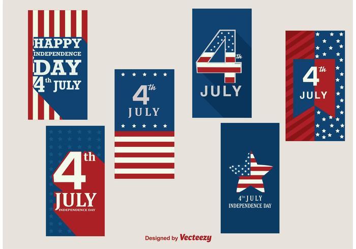 Glada 4 juli banderoller vektor