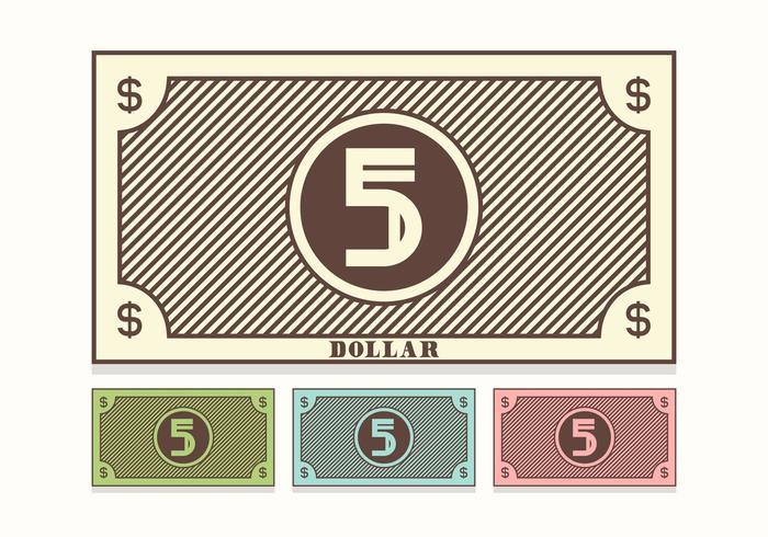Kostenlose Retro 5 Dollar Bill Vektor