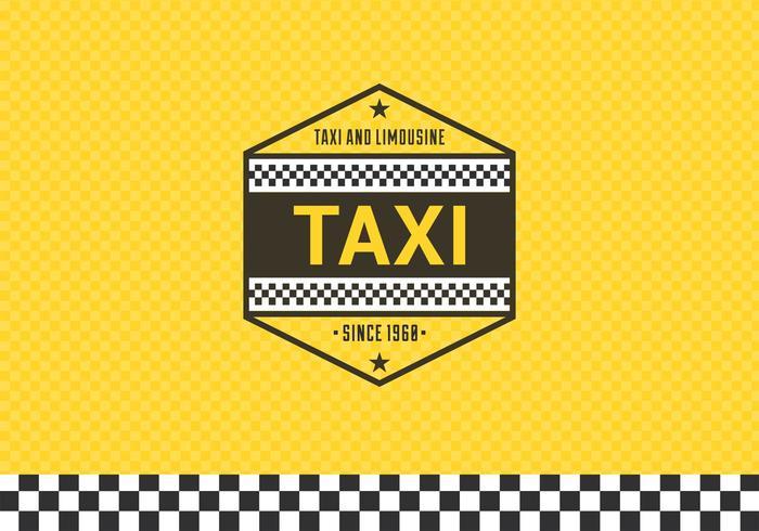 Gratis taxi etikett med rutig bakgrund vektor