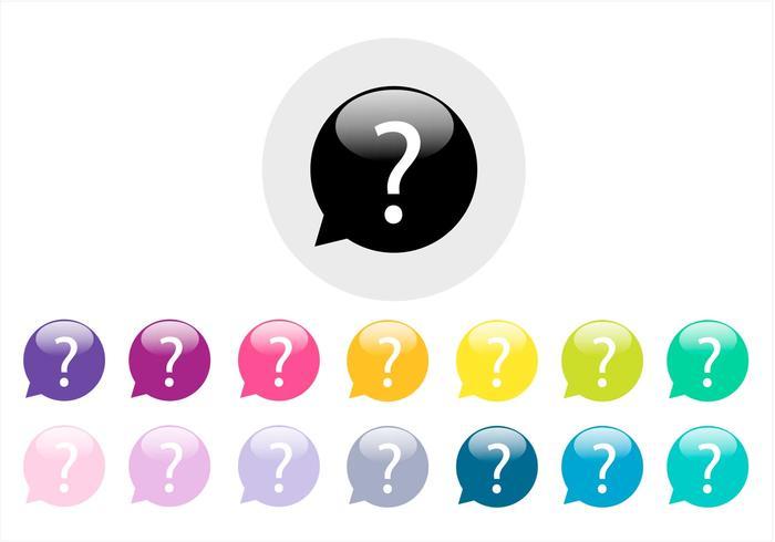Färgrik Question Mark Vector Set
