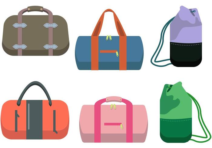 Duffle Tasche Vektor Set