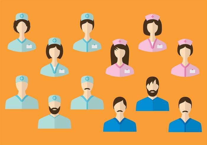 Vektor-Krankenschwester-Charaktere vektor