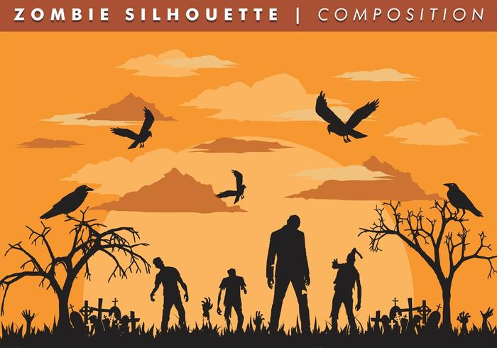 Zombie Silhouette Komposition Vector Free