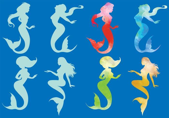 Vektor Meerjungfrau Silhouetten
