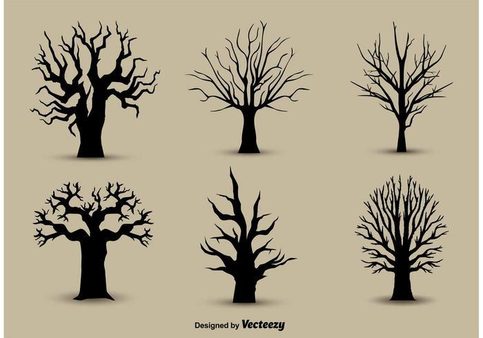 Träd tillbaka silhuetter vektor