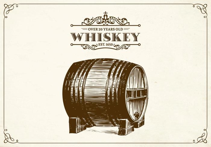 Free Hand Drawn Whisky Barrel Vektor
