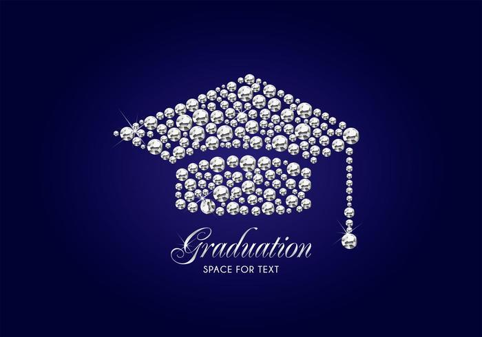 Gratis Diamond Graduation Cap Vector Bakgrund