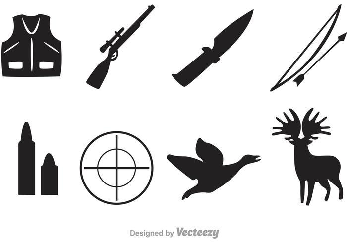 Vektorjägare svarta ikoner vektor